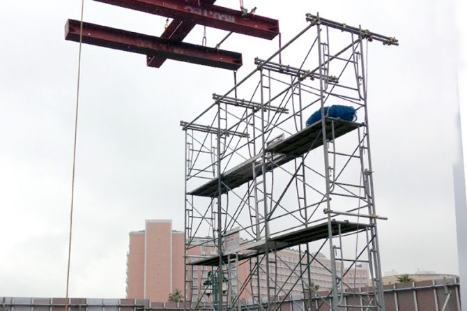 山留H鋼を利用して、吊り天秤(バランサー)をつくる