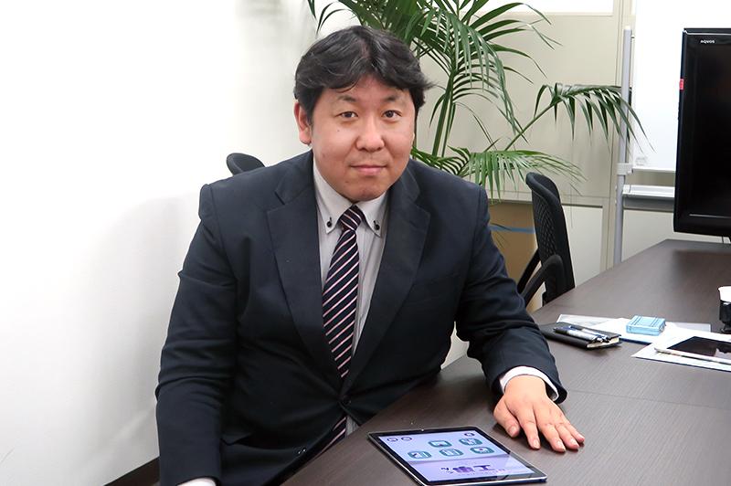 電子小黒板「BB工事くん」を開発した株式会社ビッグブラザーズシステムの営業部部長・田島健太さん