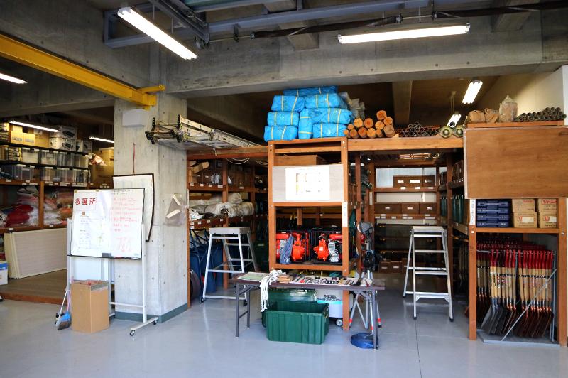 西田記念館内の備蓄倉庫