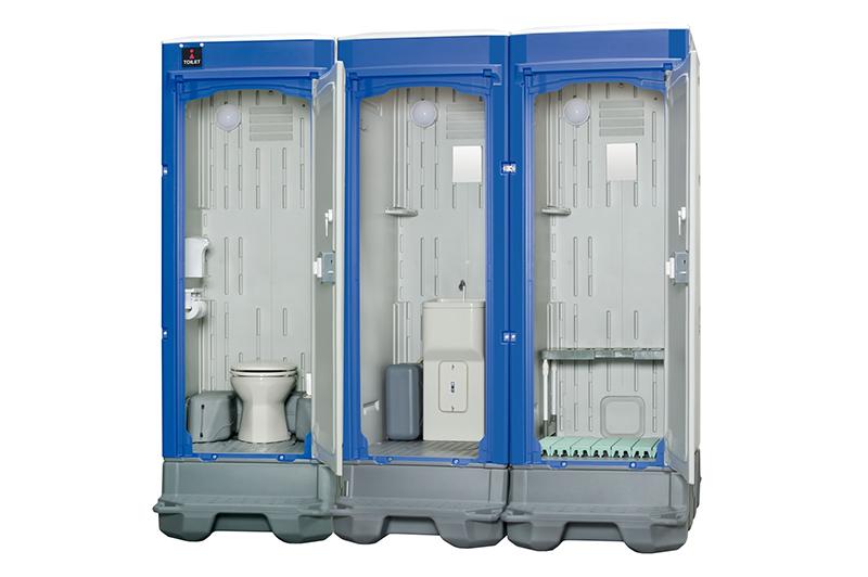連棟にできるタイプ。トイレ、洗面所、更衣室、それぞれ独立した空間に。