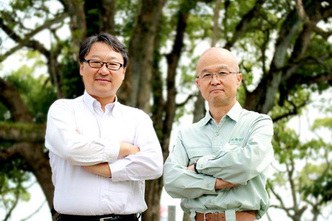 原忠 高知大学 教育研究部 自然科学系理工学部門 教授(左)、宮内保人 有限会社 礒部組 技術部長