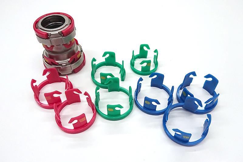 用途によりロックリングを色分けすることで誤接続を防止