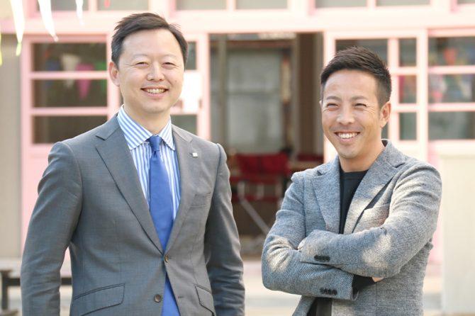 加和太建設 河田亮一 代表取締役社長(右)と、大学の同級生で「右腕」の川合弘毅取締役・ITI事業部統括